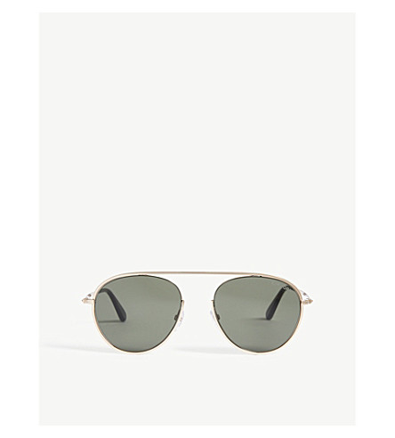 TOM FORD Aviator-frame sunglasses (Shiny+rose+gold+/+green