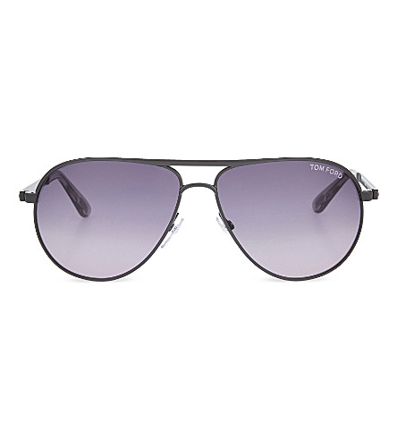 TOM FORD TF144 double bridge detail aviator sunglasses (Gun