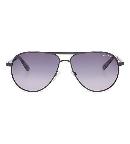TOM FORD TF144 double bridge detail aviator sunglasses (Gun