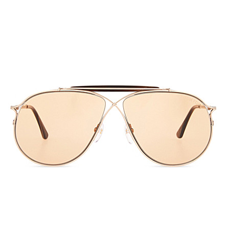 TOM FORD Tom N.6 aviator sunglasses (Rse+gld+brwn