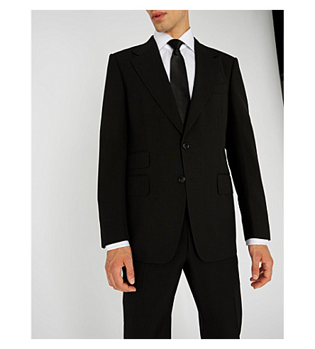 TOM FORD WINDSOR BASE HERRINGBONE THREE-PIECE SUIT, BLACK, NO COLOR