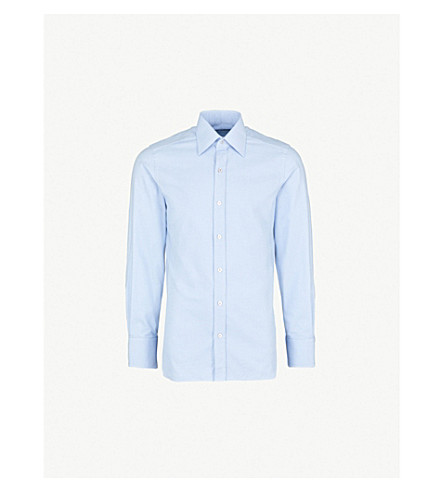 TOM FORD Micro houndstooth regular-fit cotton shirt (Sky blue