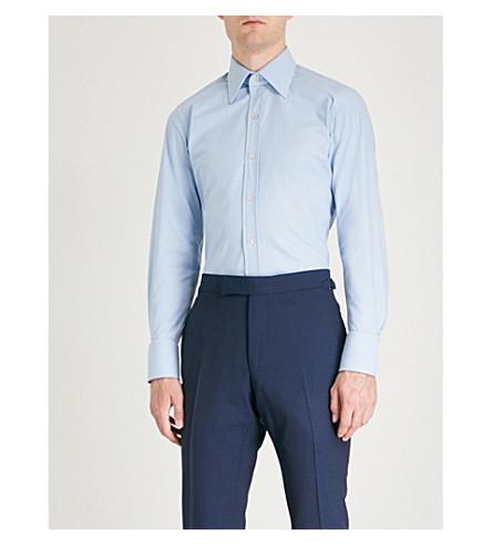 de FORD algodón azul regular en pata gallo de Camisa celeste corte TOM de FIqd1d