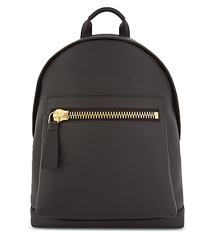 TOM FORD Buckley leather backpack (Dark+brown/gold