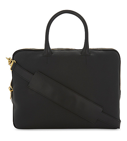 TOM FORD Grained leather double zip briefcase (Black/gold