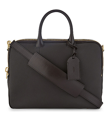 TOM FORD Grained leather double zip briefcase (Brown/gold