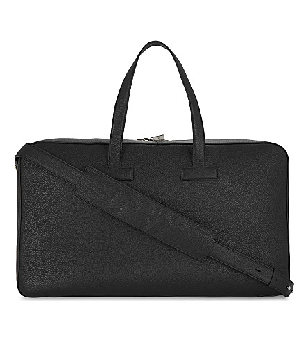 TOM FORD Pebbled leather weekend holdall (Black/silver