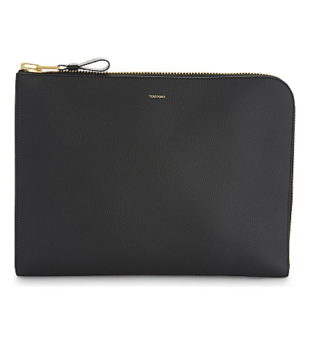 TOM FORD Large grained leather folio (Black/gold