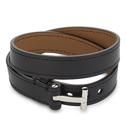 TOM FORD Leather double wrap bracelet (Blk/silver