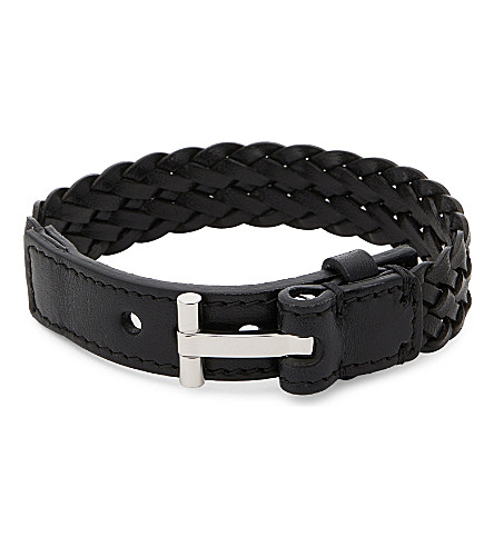 TOM FORD Woven single wrap leather bracelet (Black/silver