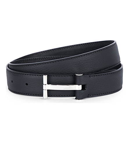 TOM FORD T leather belt (Blk/silver