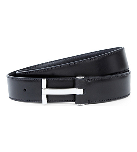 TOM FORD T-bar leather buckle belt (Black