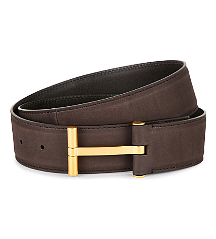 TOM FORD T-buckle leather belt (Brown/gold