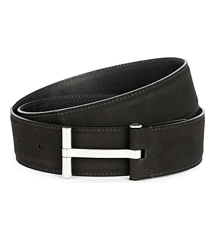 TOM FORD T-buckle leather belt (Black/silver