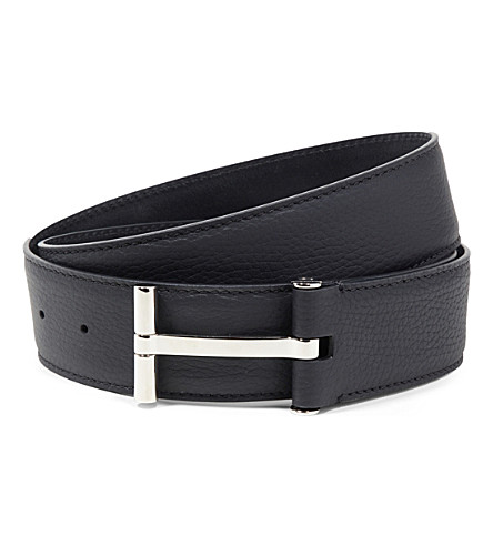 TOM FORD T Buckle leather belt (Black/silver