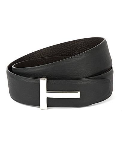TOM FORD Reversible T-icon leather buckle belt (Black/chocolate