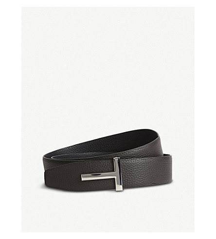 TOM FORD Reversible T logo leather belt (Black+brown+slv