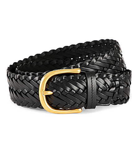 TOM FORD Woven leather belt (Black