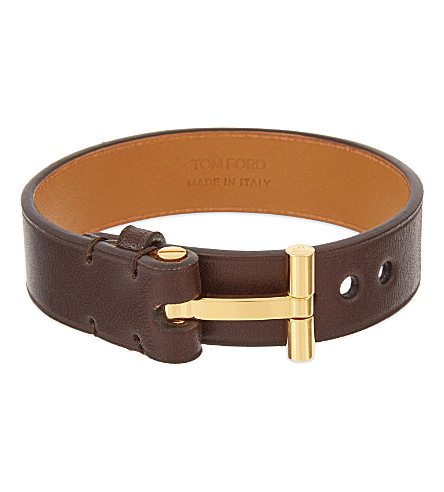TOM FORD Leather T bracelet (Brown