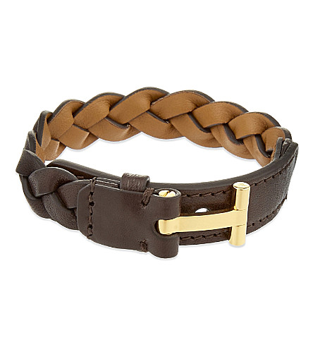 TOM FORD Braided leather bracelet (Brown