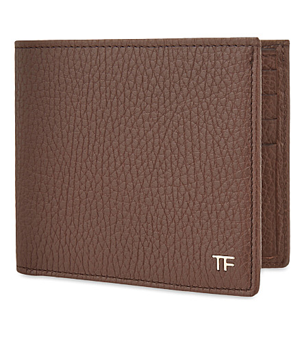 TOM FORD Grained leather billfold wallet (Chocolate