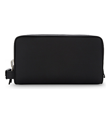 TOM FORD Double zip leather wash bag (Black/silver