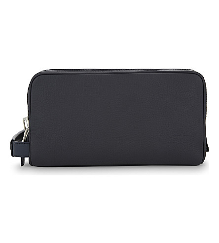 TOM FORD Double zip leather wash bag (Navy/silver