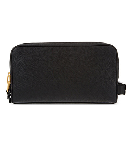 TOM FORD Double zip leather washbag (Black