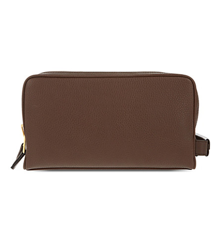 TOM FORD Double zip leather washbag (Chocolate