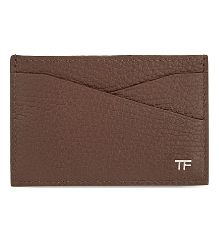 TOM FORD Grained leather card holder (Chocolate