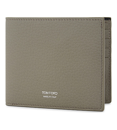 TOM FORD Grained leather billfold wallet (Light+grey