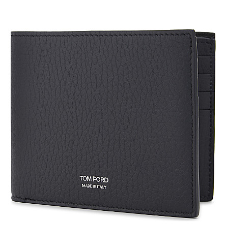 TOM FORD Grained leather billfold wallet (Navy
