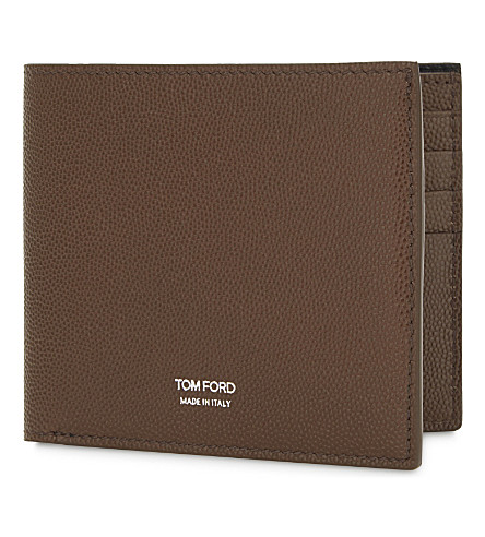 TOM FORD Grained leather billfold wallet (Mid+brown