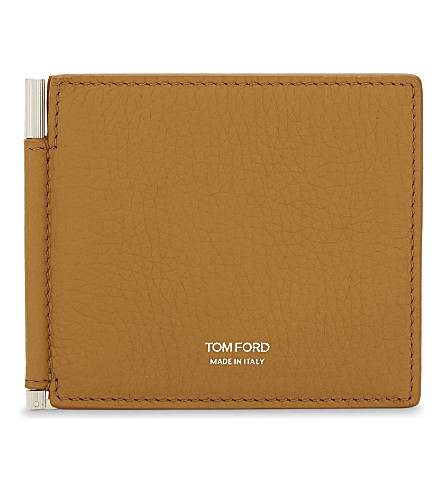 TOM FORD Grained leather card holder (Burnt+orange