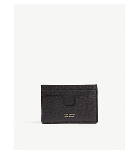 TOM FORD Grained leather card holder (Black