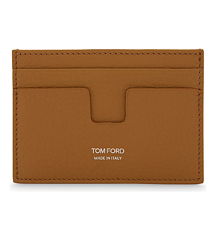 TOM FORD Grained leather card holder (Burnt+orange