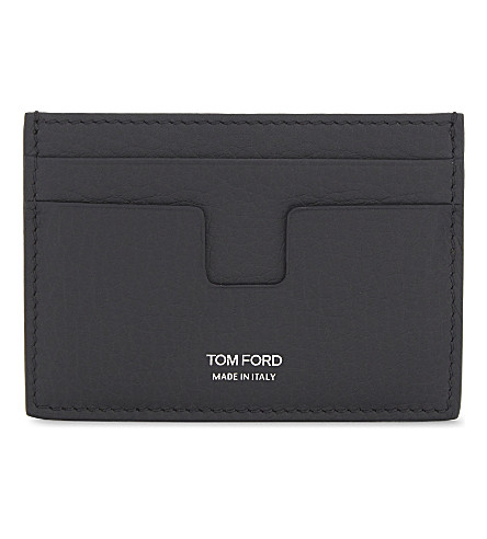 TOM FORD Grained leather card holder (Navy