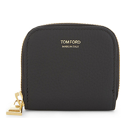 TOM FORD Pebble grained leather coin purse (Black