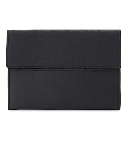 TOM FORD Pebbled leather passport holder (Navy