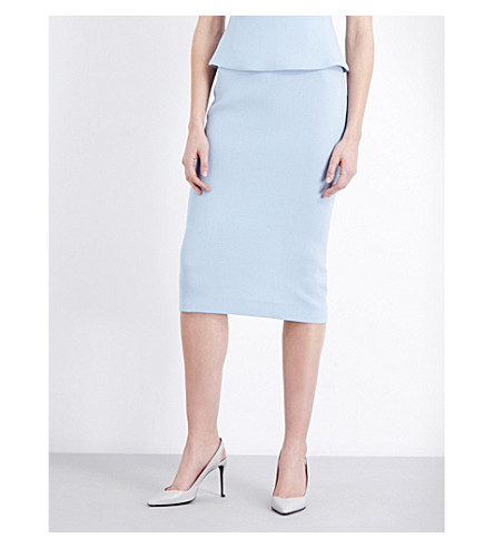 ROLAND MOURET Arreton wool-crepe pencil skirt (Light+blue