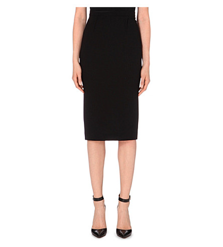 ROLAND MOURET Arreton wool-crepe pencil skirt (Black