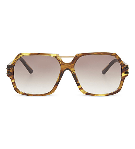 ROLAND MOURET Bergen hexagonal aviator sunglasses (Fire+tort