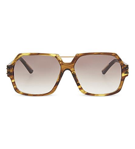ROLAND MOURET Bergen hexagonal aviator sunglasses (Fire+tort