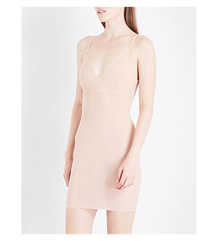 ROLAND MOURET V-neck power mesh dress (Flesh