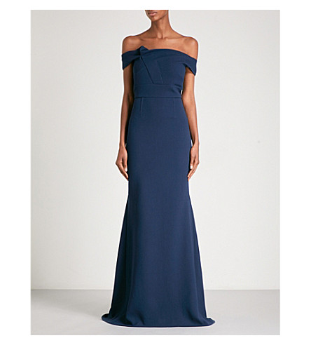 ROLAND MOURET Grezon off-the-shoulder fit-and-flare wool-crepe gown (Dusty+charcoal