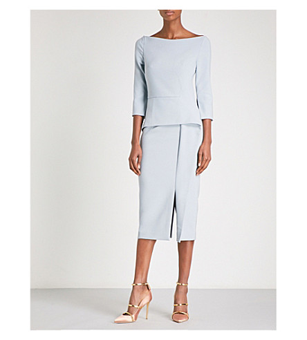 ROLAND MOURET Ardingly fitted crepe midi dress (Ash blue