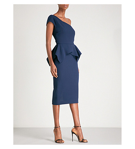 ROLAND MOURET Tauton wool-crepe midi dress (Dusty charcoal
