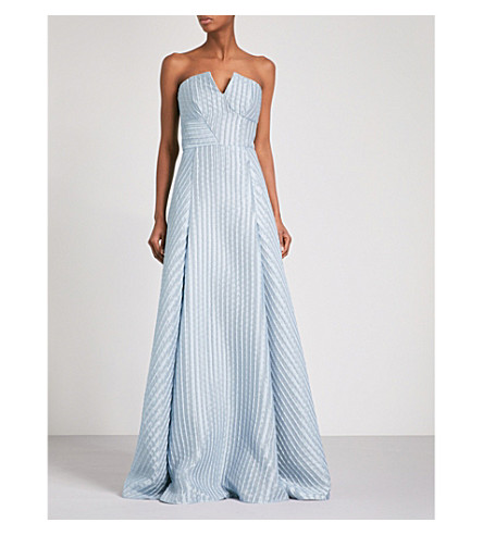 ROLAND MOURET Bodmin sweetheart woven gown (Ice+blue