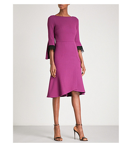 ROLAND MOURET Ulverston lace-trim wool-crepe midi dress (Dusty+mauve/blk