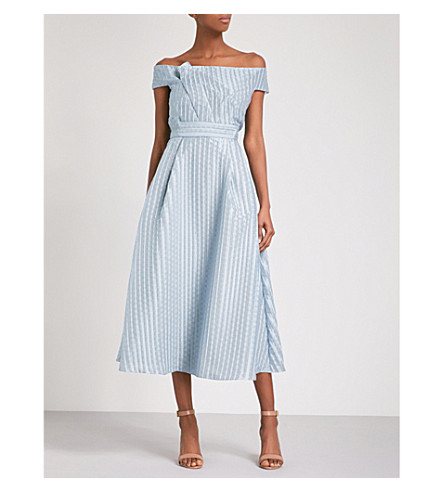ROLAND MOURET Bentham off-the-shoulder woven midi dress (Ice+blue